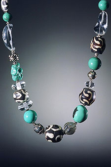 African Trade Bead and Chinese Turquoise Necklace