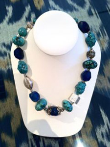 Blue Chinese turquoise, chalcedony, Balinese sterling, African trade beads