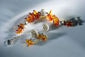 Cognac Baltic Amber Bracelet and Earrings