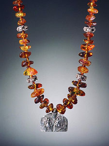 Cognac Baltic Amber Nugget Necklace