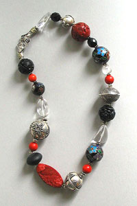 Necklace of red cinnabar, cloisonn�, coral,