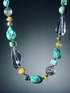 Turquoise, Butter Amber, Crystal Necklace