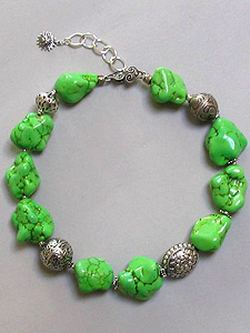 Green Turquoise Nugget Necklace